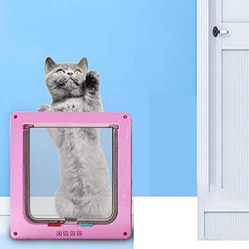 FXQIN Puerta abatible para Gatos, Kit de 4 Puertas de Bloqueo magnético Inteligente para Mascotas, Gatitos y Gatitos, fácil instalación, Exterior fácilmente,L