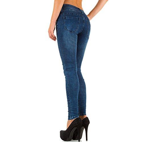 Damen Jeans, USED LOOK HIGH WAIST SKINNY JEANS, KL-J-2D33 Blau