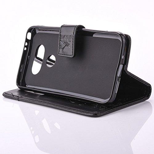 SainCat Coque Etui pour LG G5, LG G5 Coque Dragonne Portefeuille PU Cuir Etui, Coque de Protection en Cuir Folio Housse, SainCat PU Leather Case Wallet Flip Protective Cover Protector, Etui de Protect Papillon fleur-Noir
