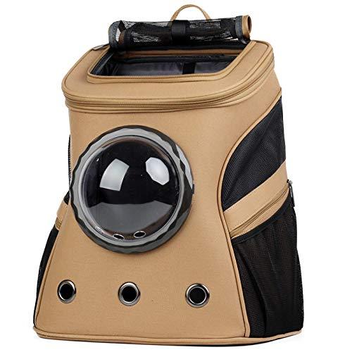 Yugoujiu Haustierrucksack-Raumkapselausflug Tragbarer Atmungsaktiver Rucksack des Katzenhundes,Brown B,38 * 29 * 45 cm