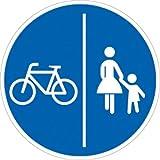 Verkehrszeichen VZ241-30, Getrennter Rad- und Gehweg, Radweg links, Alu, RA1, Ø 42cm Verkehrsschild