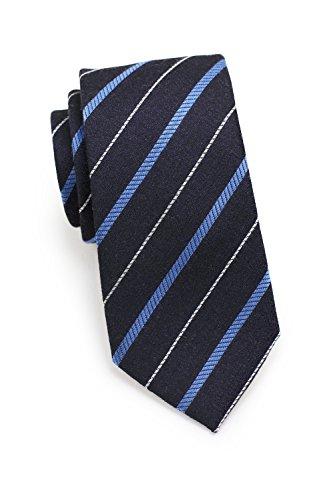 Blackbird Krawatte Business, gestreift, verschiedene Farben, Woll-Seidenkrawatte, 7cm Skinny/Silk Tie, Handarbeit (Schwarz/Dunkelblau) -