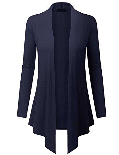 LYXIOF Damen Verschlussloser Langer Cardigan Navy Blau XL