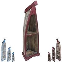 Preisvergleich für Bootsregal Boot Regal Bücherregal Bücherschrank Standregal Aufbewahrung 100 cm Albesia Holz Braun Dunkelrot