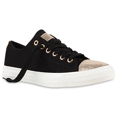 Modische Damen Sneakers Low Metallic Turnschuhe Flats Schwarz