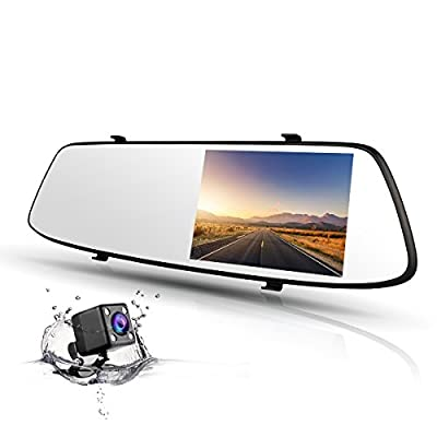TOGUARD Mirror Dash Cam 4.3 Inch Touch Screen, 1080P Full HD 170° Wide Angle Front Car Camera Video Recorder and Rearview Backup Camera Dual Lens with Parking Monitor G-Sensor Loop Recording - inexpensive UK light store.