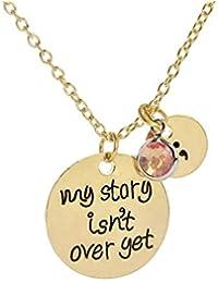 Stella - Collar con Colgante de Cristal Tallado con Texto en inglés My Story Isnt Over Y, Color Dorado y Plateado