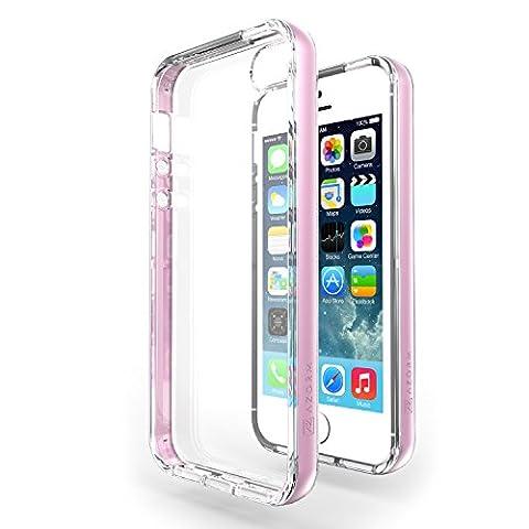 Coque iPhone SE / 5S / 5 - Azorm Hybrid Edition Rose - Coque Effet Métallisé, Transparente, Fine, Antidérapante - housse étui bumper coque de protection antichoc hybride pour Apple iPhone 5S, iPhone 5, iPhone