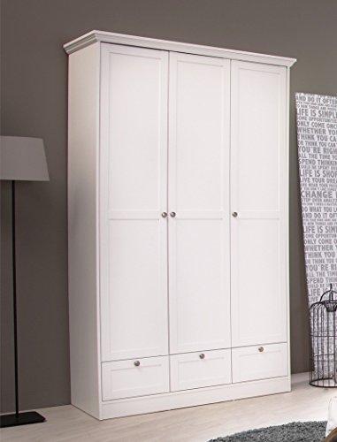 expendio Kleiderschrank Landström 18 weiß 120x200x51 cm Drehtürenschrank Schrank Schlafzimmerschrank Landhausmöbel