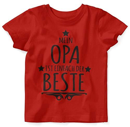 Mikalino Baby/Kinder T-Shirt mit Spruch für Jungen Mädchen Unisex Kurzarm Mein Opa ist einfach der Beste | handbedruckt in Deutschland | Handmade with Love, Farbe:rot, Grösse:68/74