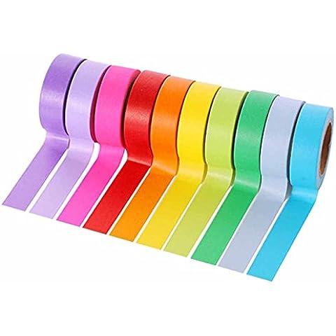 Feoya - (Conjunto 10 Pcs ) 1.5cm*10m Washi Cinta Adhesiva de Decoración de Patrónes Arco Iris para Álbum de Recorte / Artesanía /