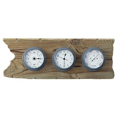 ClimeMET 'Maritime Master' Driftwood Mount Time, Tide and Barometer Sailing Gift Set (Slate Grey)