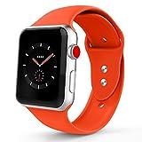 Iyou für Apple Watch Armband 38mm/42mm, Weiches Silikon Ersatzarmband Classic Sportarmband für iWatch Apple Watch Series 3/2/1, Edition, Nike + (42MM M/L, Orange)