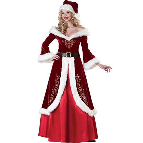 ShiyiUP Weihnachten Weihnachtsmann Kostüm Cosplay für Erwachsene Luxus Anzug (Frauen Kleid, - Weihnachtsmann Kostüm Frauen