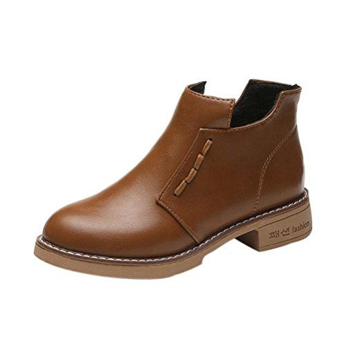Frühling Schuhe Stiefel (Stiefel Damen Schuhe Sonnena Ankle Boots Frauen kurze Stiefel Women British Stil Martin Stiefel Frühling Herbst Stiefel Outdoor Kunstleder Schlupfstiefel mit Reißverschluss (37, Sexy Braun))