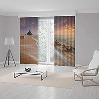 RealHomes Özel Tasarım Dijital Baskılı Çift Kanat Fon Perde 140 x 260 cm