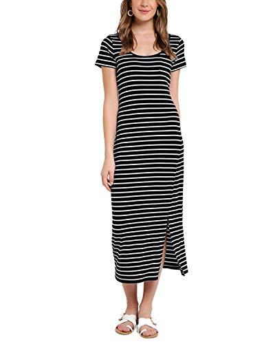 VONDA Damen Kleid Mit Ärmel Lange Sommerkleid Elegant Cocktail Ballkleid Schwarz03 L - Den Lang Sommer Kleid Für
