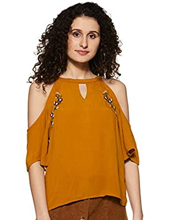 Amazon Brand - Symbol Women's Plain Loose Fit Top (SS-18-SYMWBL118-Mustard-XS)