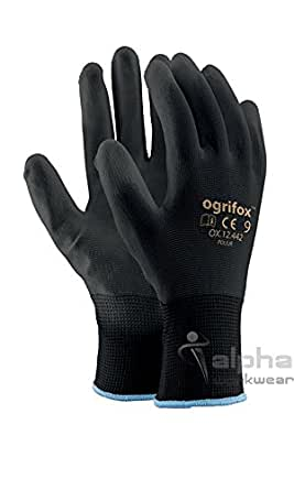 24 pairs pu coated black nylon work gloves gardening for Gardening gloves amazon