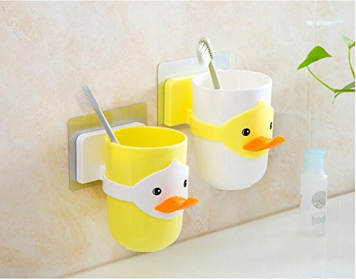 JJPUNK Kinder Cartoon Tiere Zahnbürstenhalter Bad Badezimmer Becher Glas Badekugel Halter Halterung Toilette WC Zahnbürste Zahncreme Zahnpasta Zahnputzbecher (Weiß)