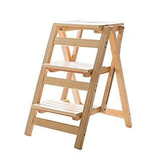 Zfggd Multifunction Ladder Chair Stool Wooden Foldable Shelving Step Ladder Home Library 3 Steps (Natural Colour)