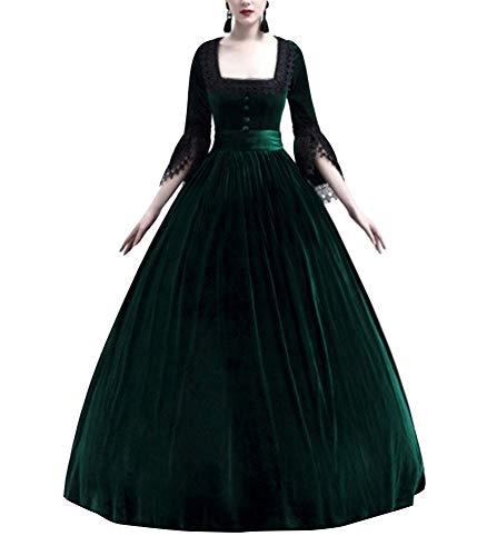 (Guiran Damen Vintage Mittelalter Cosplay Kostüm Kleid Prinzessin Kleider Grün 2XL)