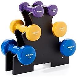 York Fitness Unisex Vinilo Juego de Mancuernas con Soporte de Cruce, Color Azul, Amarillo, Morado, 12kg