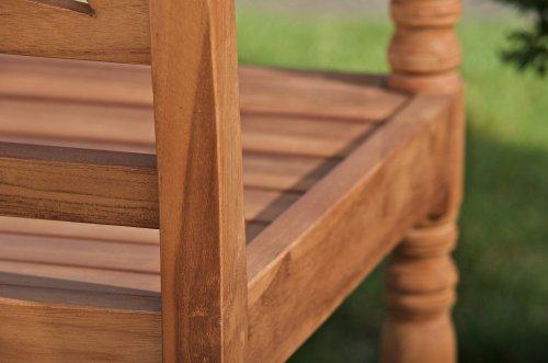 CLP Teak-Holz Gartenbank MARYLAND V2, massiv, wetterfest, bis zu 3 Größen wählbar, wird teilmontiert angeliefert 120×54 cm - 7