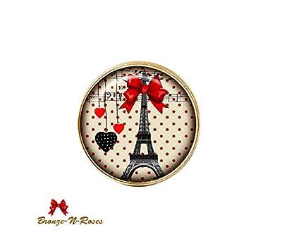 Bague * Paris guinguette * tour Eiffel rétro noeud rouge