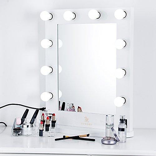 LUVODI Espejo Hollywood Maquillaje Espejo con 10 Bombillas LED Iluminación Ajustable Espejo Maquillaje Grande para Pared Mesa Tocador Dormitorio 50 x 66 x 20cm Color Blanco