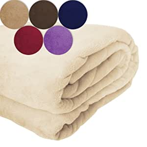 Jago Super Soft Snuggle Fleece Warm Throw Blanket 150x200 cm (Gold-Beige)