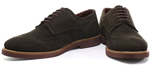 London Brogue richelieus Francis Homme Suède Mocassin Brown Suede/Bordo Sole