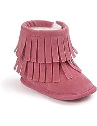 Auxma Para bebé de 0-18 meses, Zapatos de niña mantener caliente Borlas doble cubierta de nieve suave Botas de nieve suave