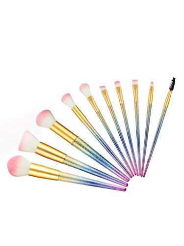 Limiz Pennello per trucco, 10 pezzi/set spazzolino smerigliato per sfumare polvere ombretto contorno correttore bellezza cosmetico colorato sfumatura guancia kit di strumenti (Color : Gradient)