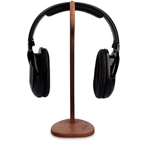 kalibri Kopfhörerhalter Kopfhörerständer Universal aus Holz – Kopfhörer Halter Gaming Headset Halterung – On Ear Headphone Stand – in Walnussholz - 5