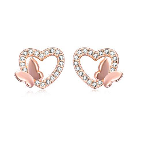 TRENDWERT® Herz-Ohrstecker-Ohrring mit Schmetterling aus 925 Sterling-Silber und Zirkonia Steinen mit Rhodium, rose-Gold oder 750er Gelbgold Veredelung inkl. 2x Ersatzverschluss