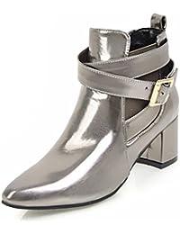 Easemax Damen Modisch Spitze Zehe Cross Band Elastisch Ankle Boots Mit Absatz Silber 39 EU 7ksONW
