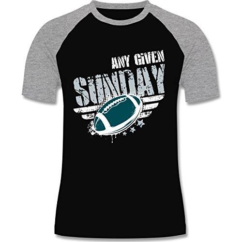 Shirtracer American Football - any Given Sunday Football Philadelphia - Herren Baseball Shirt Schwarz/Grau Meliert