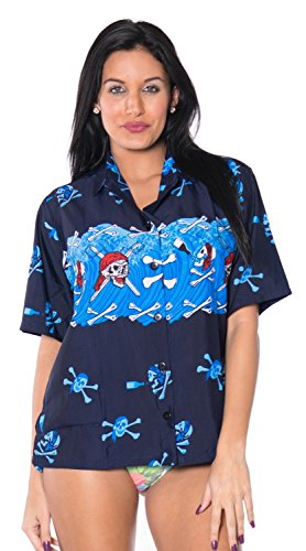 La Leela likre Piraten Button unten Schädel oben Frauen Halloween-Thema Hemd helle blaue tanzen Hellblau