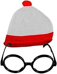 ¿Dónde está Wally Unisex Rojo/Blanco Gorro y gafas Fiesta temática no lente gafas