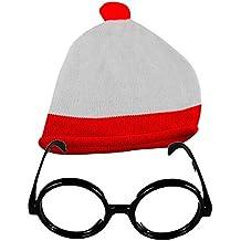 gorro y gafas sin cristales para fiesta temática, Unisex, rojo/blanco