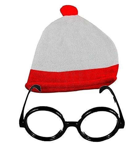 Partybrille ohne Gläser, mit Pudelmütze, unisex, Rot/Weiß Gr. Einheitsgröße, Bobble Hat & No Lens (Glass Hat)