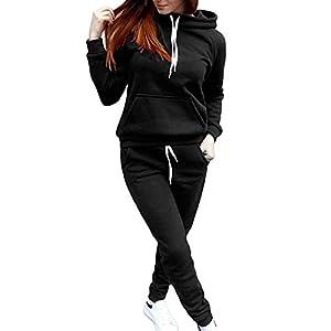 junkai Damen 2pcs Trainingsanzug, Mode Langarm Bluse Oberteile mit Lange Hose Fitness Jogginganzug Frühling Herbst Casual Sportanzug Hausanzug