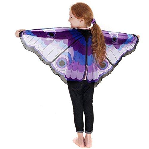 Ba Zha Hei Kind Kinder Jungen Mädchen Karneval Kostüm schmetterlingsflügel Kostüm Faschingskostüme Butterfly Wing Cape Kimono Flügel Schal Cape Tuch Jungen Mädchen böhmischenPrint (Blau, 118*48CM) (Kimono Butterfly)