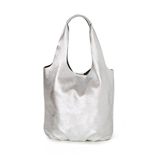 Arcadia Lizzy designer Grand sac en cuir métallisé argent