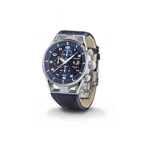 Montre Locman Montecristo 0542a02s-00blwhpb au quartz (Batterie) acier Quandrante Bleu Bracelet Cuir