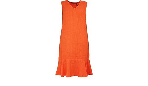 44a2876600 Backstage clothing Sleeveless Orange Linen Dress XL Orangina  Amazon.co.uk   Clothing