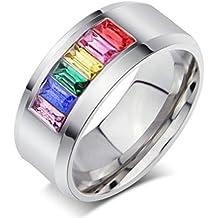 Gudeke Acier inoxydable Couple Lebian & Gay Pride arc-en-ciel Bague Oxyde de Zirconium