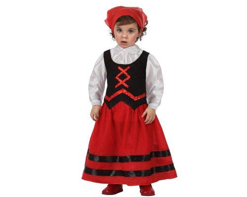 Atosa 8422259127703 - Hirtinnenkostüm, Größe: 0-6 Monate, rot/schwarz (Hirten Krippe Kostüm Kinder)