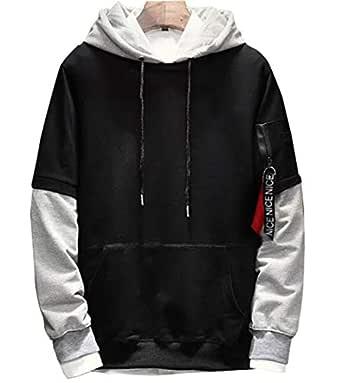 EYEBOGLER Cotton Men's Hoodie Sweatshirt Jacket (S-EBSW19-BLLG, Black Light Grey, Small)